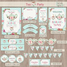 Tea party birthday Tea for two Tea party party por DamabDigital