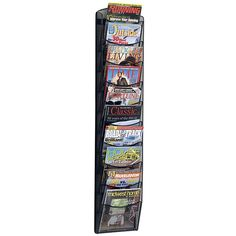 10 Pockets Get your collection of magazines neat and organized with this ten-pocket mesh magazine rack. This onyx magazine rack has a contemporary look that would go great in a front office, work area, or reception area. All hardware comes included.