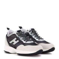 Laterale Sneaker Hogan Interactive in camoscio bianco e rete nera