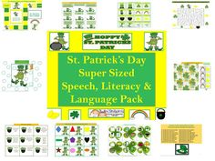 Twin Sisters Speech & Language Therapy: St. Patrick's Day SUPER SIZED Speech, Language & Literacy Packet!! Pinned by SOS Inc. Resources. Follow all our boards at pinterest.com/sostherapy for therapy resources.