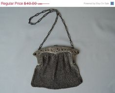 20% off Sale  1920s German Silver Mesh Chain by dandelionvintage