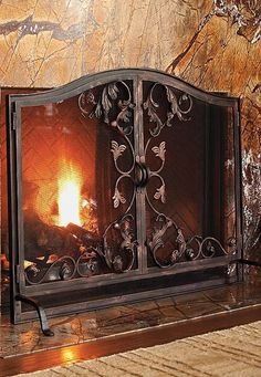 Enhance your hearth with the elegant and intricate Toscana Fireplace Screen that will help protect your home and guests from flames and sparks while you enjoy a roaring fire.