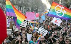 Tens of thousands of gay rights campaigners packed the streets of Paris on Sunday to call for the legalisation of gay marriage, two days before a key parliamentary debate on the hugely divisive issue. Show Of Hands, Rainbow Aesthetic, Pride Parade, Rainbow Flag, Let's Create, Gay Couple, Paris Travel, Vulnerability, Equality