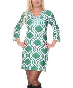 Another great find on #zulily! Green & White Arabesque V-Neck Sheath Dress #zulilyfinds