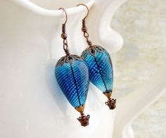 Blue Hot Air Balloon Earrings - Copper baskets with blown glass beads - Steampunk Earrings by ElainaLouiseStudios, $24.00