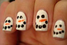snowman I believe I could paint this fingernail art easily!