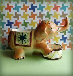 Vintage Circus Elephant Figurine Planter Trinket Dish Trunk Up 1960's
