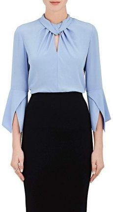 Shop for Victoria Beckham Women's Silk High-Neck Blouse-Md. Kurti Sleeves Design, Sleeves Designs For Dresses, Stylish Dresses For Girls, Stylish Dress Designs, Blouse Styles, Blouse Designs, Blouse Outfit, Blouse And Skirt, High Neck Blouse