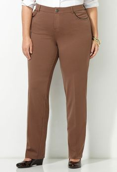 Pleather Trim Pocket Ponte Pant