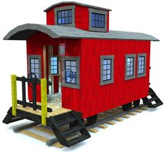cool & detailed wooden train caboose playhouse