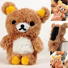 Cute 3D Teddy Bear Cartoon Doll Toy Cool Plush Case Cover For iPhone 7 7 Plus