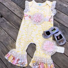 """Peaches n' cream marigold onesie- $56.99 (0/3, 3/6, 6/9, 18) Gracious May shoes- $56.99 (5, 6, 8, 9, 10)  We #ship! Call us to order!  903.322.4316"" Photo taken by @daviscountrystore on Instagram, pinned via the InstaPin iOS App! http://www.instapinapp.com (01/13/2016)"