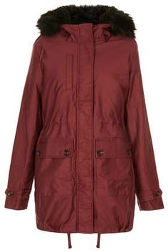 TOPSHOP Borg Lined Clean Parka