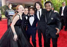 The Cast of 'Stranger Things' Just Walked the Golden Globes Red Carpet Together - HarpersBAZAAR.com
