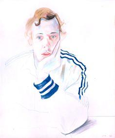 David Hockney Drawings | Gregory, 1978 c rayon on p aper, 17x14 in.