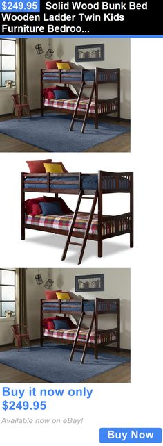 Kids Furniture: Solid Wood Bunk Bed Wooden Ladder Twin Kids Furniture Bedroom Boys Girls Teens BUY IT NOW ONLY: $249.95