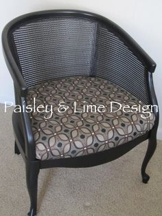 Cane Barrel Back Chair with Geo Print by PaisleyandLime on Etsy, $95.00