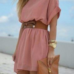 Light Pink Dress with a belt👌