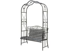 - Arbor Bench. - Wrought iron style arbor bench. - Traditional Mandalay lattice design. - Antique black finish. - Designed to withstand the elements as patio furniture is dual powdered coated for dura