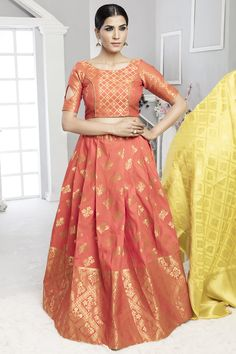 Elegance and honourable come together in this beautiful drape. True splendor will come out as a outcome of the dressing design with this peach art silk lehenga choli. This enticing attire is showing s. Indian Lengha, Bridal Lehenga Choli, Silk Lehenga, Choli Designs, Blouse Designs, Lehenga Choli Online, Indian Ethnic Wear, Indian Outfits, Indian Clothes