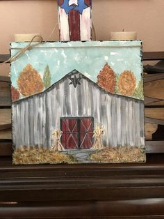 Faded fall barn, old country barn in fall handpainted onto standalone wood board. Autumn colors , fall leaves of red gold, dried cornstalks - Products - Country Recipes Fall Canvas Painting, Autumn Painting, Autumn Art, Painting On Wood, Autumn Leaves, Painting & Drawing, Scrape Painting, Tole Painting, Painting Tips