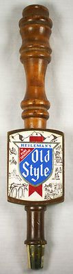 Vintage Heileman's Pure Genuine Old Style Wooden Tap Handle Threaded Beer Tap Pub Bar Man Cave Bachelor Pad