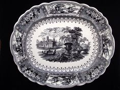 Spectacular Large Black Staffordshire Platter Canova 1830 | eBay