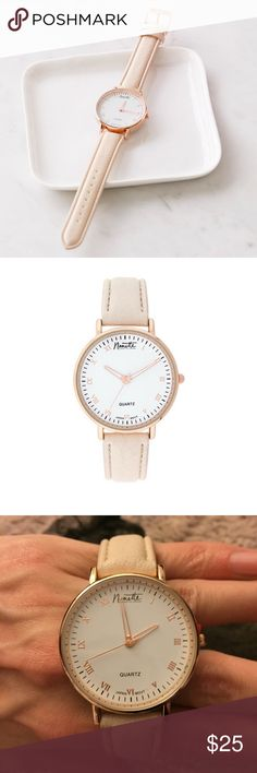 Nanette Lepore Classic Rose Gold Watch Brand new, still in original packaging. The watch has a beige vegan leather strap and a white enamel dial with rose gold details. Price is firm. No trades. Sold out on Bloomingdales website! Nanette Lepore Accessories Watches