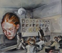 """Justine Otto, """"Der Streber"""", oil on canvas Rhyme And Reason, Contemporary Paintings, Artist At Work, Surrealism, Old School, Oil On Canvas, Drawings, Creative, Illustration"""