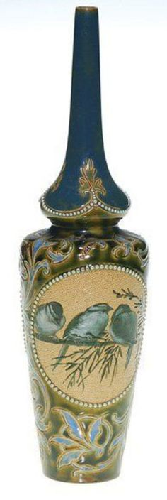 A Doulton [Lambeth] vase with tapering neck having two panels, each decorated with a pair of finches by Florence Barlow, with decorative detail added by Francis E. Lee, England, circa 1880-1900