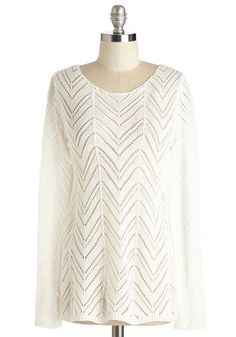 Where There's a Willow Sweater in Cloud - Mid-length, Sheer, Knit, White, Solid, Casual, Long Sleeve, Variation, Scoop