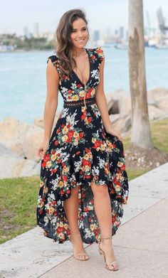 43 amazing upcoming casual style looks copy today vestidos p High Low Dresses Casual, Floral High Low Dress, Casual Dresses For Women, Casual Outfits, Mode Outfits, Dress Outfits, Fashion Outfits, Ladies Fashion Dresses, Womens Fashion