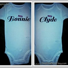 Funny Twin onesies Bodysuit or Shirt, Bonnie and Clyde Twin Boy Girl matching clothes, Twin TShirts, Halloween Costume, Boy Girl Twin Onesie on Etsy, $26.00