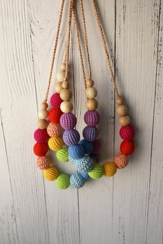 Organic natural wooden teething necklace in rainbow color with Nursing Necklace, Teething Necklace, Breastfeeding Necklace, New Mummy, Teething Toys, Stylish Jewelry, Different Shapes, Baby Accessories, Wooden Beads