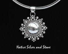 Artie Yellowhorse - Handmade Navajo sterling silver pendant. Domed Snowflake/Star from Native Silver and Stone