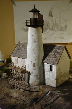 Drybrush the roof with a muddy greybrown (Payne's grey, white and raw umber) to equalize the contrast. Train Miniature, Miniature Houses, Driftwood Crafts, Ceramic Houses, Model Train Layouts, Stone Houses, Fairy Houses, Model Homes, Little Houses