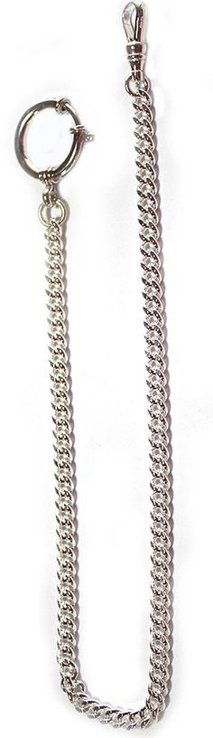 Sterling Silver Quality Pocket Watch Chain with a Large Spring Ring - New Stock - Made in USA