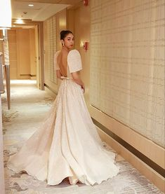 You have to see her look! Civil Wedding Dresses, Wedding Dress Sleeves, Dream Wedding Dresses, Wedding Gowns, Lilac Wedding, Modern Filipiniana Gown, Filipiniana Wedding Theme, Debut Gowns, Filipino Wedding