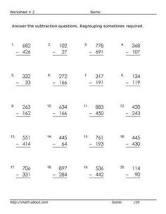 Adjectives Worksheets Grade 4 Addition Worksheets With Decimals This Worksheet Was Built To  Equal Groups Multiplication Worksheets Word with Types Of Nouns Worksheet Word Practice Threedigit Subtraction With These Free Math Worksheets Gettysburg Address Worksheet