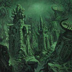 "Dan Seagrave ""Macabra (To The Bone) Album Cover"" Prints - IndieMerchstore Dark Fantasy Art, Fantasy World, Dark Art, Cthulhu, Dan Seagrave, Lovecraftian Horror, Cg Artwork, Fantasy Setting, Environment Concept Art"