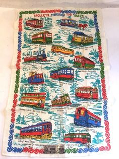 "Vtg Unused Charles Print Pure Linen Tea Towel Train ""Trolleys Through the Years"""