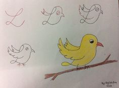 Simple bird drawing with color. simple bird drawing flying l Bird Drawings, Animal Drawings, Easy Drawings, Drawing Sketches, Simple Bird Drawing, Drawing For Kids, Art For Kids, Drawing Lessons, Art Lessons