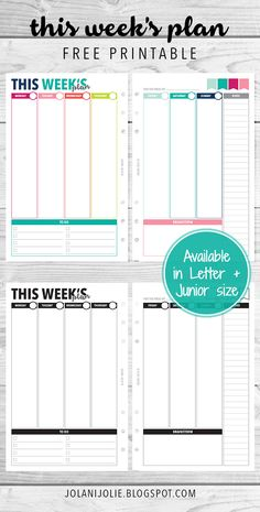 Free Printable: Vertical Planner Insert on 2 Pages