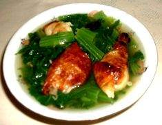 Khmer/Cambodian soup - Salor spee khieu sach quay. (Mustard green soup with roasted meat.)