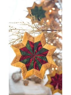 What's New - Quilting - Shining Stars Ornament Pattern Quilted Christmas Ornaments, Handmade Christmas Decorations, Christmas Sewing, Christmas Fabric, Holiday Crafts, Christmas Crafts, Fabric Ornaments, Christmas Quilting, Purple Christmas