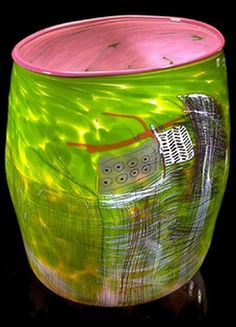 Dale Chihuly | Rose soft cylinder with lavender lip wrap.