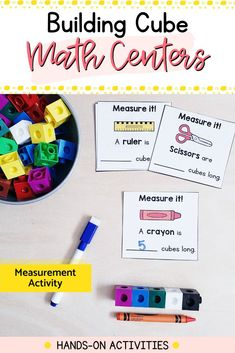 Need fun and engaging math centers for your kindergarten classroom? These 18 hands-on activities will reinforce fine motor and math skills all year. Easy to use and prep: just add snap cubes. Measurement Activities, Kindergarten Math Activities, Literacy Skills, Motor Activities, Hands On Activities, Kindergarten Classroom, Build Math, Math Concepts, Childhood Education