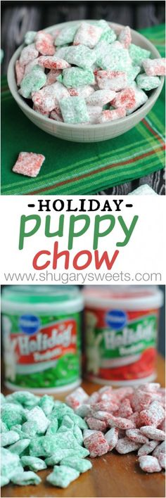 Holiday Puppy Chow: festive red and green muddy buddies for Christmas! Get snacking! Holiday Puppy Chow: festive red and green muddy buddies for Christmas! Get snacking! Holiday Snacks, Christmas Snacks, Christmas Cooking, Holiday Recipes, Christmas Goodies, Christmas Candy, Party Snacks, Christmas Recipes, Christmas Eve