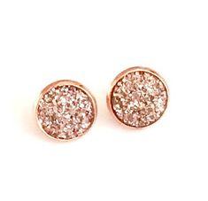 Rose Gold Druzy earrings  Rose Gold 8 mm  Faux Druzy   Etsy