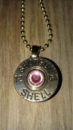 Ball chain necklace with shotgun shell snap charm and pink crystal...shooting hunting jewelry by CamoAndAmmoBoutique on Etsy